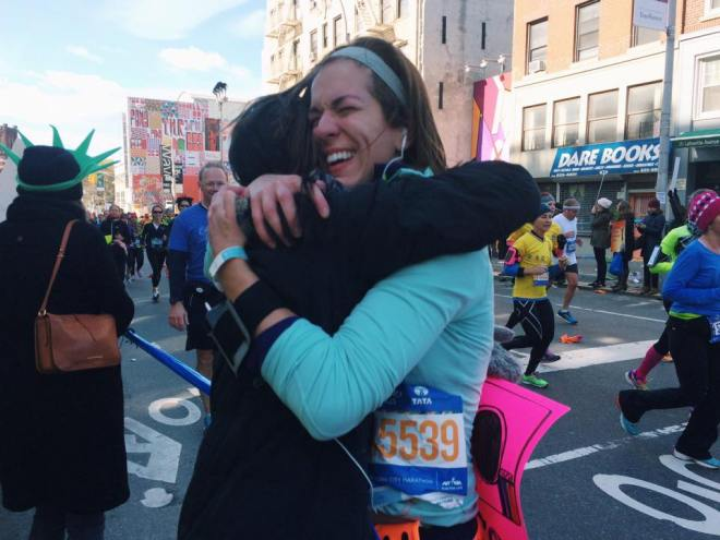Hugging Emily at mile 8 of the New York City Marathon 2014