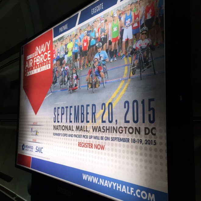 Navy Air Force Half Marathon advertisements went up in the metro this week!