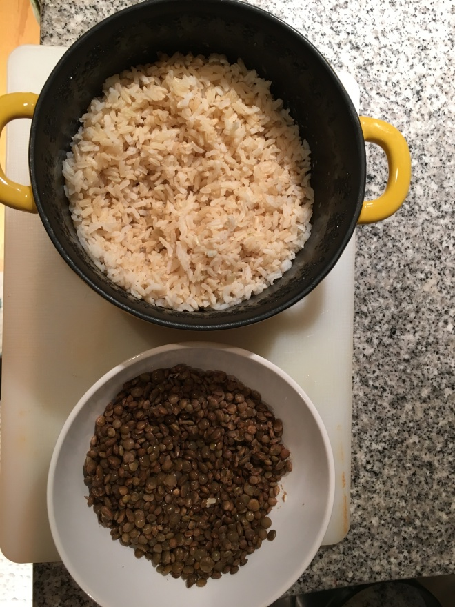Prepping the brown rice + lentils